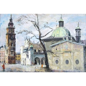 Franciszek Kmita (1926-2013), Widok krakowskiego rynku z kościołem św. Wojciecha, 1978