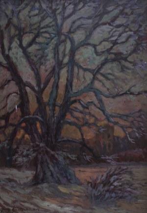 Jerzy Gnatowski (1929-2012), Pejzaż zimowy z drzewem
