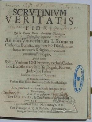 HACKI Jan Franciszek, Scrutinium veritatis fidei.