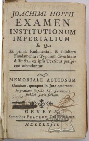 HOPPE Joachim, Examen Institutionum Imperialium.