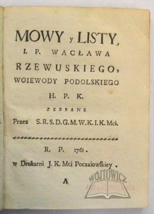 RZEWUSKI Wacław, Mowy y listy.