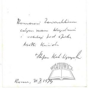 WYSZYŃSKI Stefan (1901 - 1981), Kardynał, Prymas Polski.