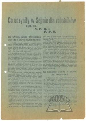 CO UCZYNIŁY w Sejmie dla Robotników CH. D., N.P.R. i P.P.S.
