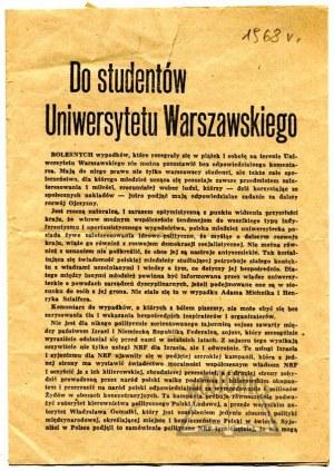 DO STUDENTÓW Uniwersytetu Warszawskiego.