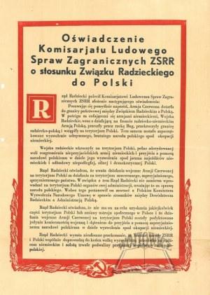 OŚWIADCZENIE Komisarjatu Ludowego Spraw Zagranicznych ZSRR o stosunku Związku Radzieckiego do Polski.