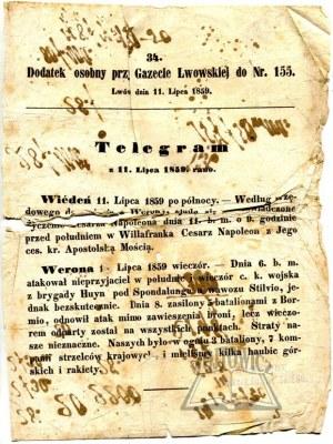 TELEGRAM z 11. Lipca 1859. rano.