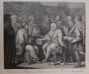 (KAZIMIERZ I. u cesarza Henryka II o klejnoty królestwa swego dopomina się).