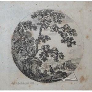 STEFANO della Bella (1610-1664), Dwóch podróżników mijających stare dęby.