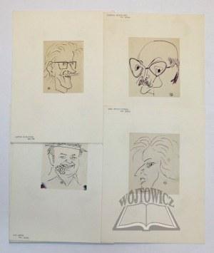 ŁAKOMSKI Tadeusz(1911-1988) krakowski malarz, prof. ASP, karykaturzysta, uczeń T. Pautscha i W. Weis, Karykatury.