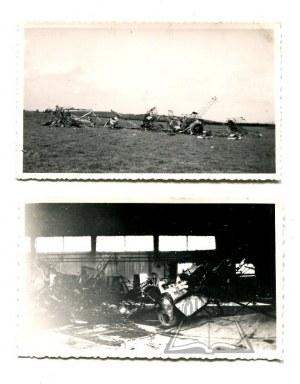 WOJNA obronna - zniszczone polskie samoloty.