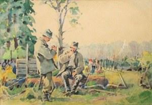 GIBIŃSKI Stanisław (1882 Rzeszów - 1971 Katowice), Odpoczynek przy pracy.