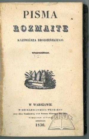 BRODZIŃSKI Kazimierz, Pisma rozmaite.