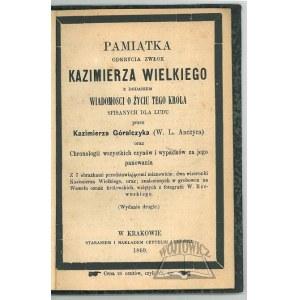 (ANCZYC W. L.) Góralczyk Kazimierz, Pamiątka odkrycia zwłok Kazimierza Wielkiego