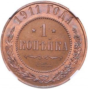 Russia 1 kopeck 1911 СПБ NGC PF 63 RB