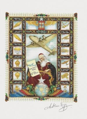 Artur Szyk (1894-1951), Poczta lotnicza na świecie-strona tytułowa