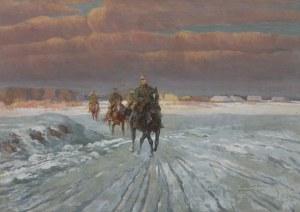 Wintorowski (Winterowski) Leonard, PATROL UŁANÓW W ZIMOWYM KRAJOBRAZIE, 1921
