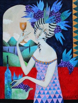Jan Bonawentura Ostrowski, Dziewczyna z kielichem wina, 2020