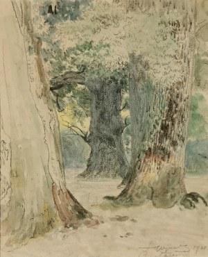 Leon WYCZÓŁKOWSKI (1852-1936), Dęby w Białowieży, 1921