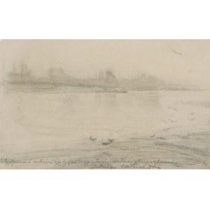 Józef CHEŁMOŃSKI (1849-1914), Pejzaż - Szkic do obrazu Wisła, ok. 1895