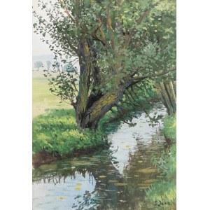 Soter JAXA-MAŁACHOWSKI (1867-1952), Wierzba nad potokiem
