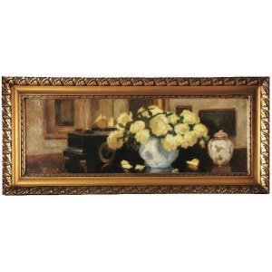 Alfons KARPIŃSKI (1875-1961), Żółte róże z porcelanową wazą