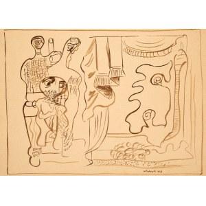Marek WŁODARSKI (1898 - 1960), Aktorzy we wnętrzu z kotarą, 1929