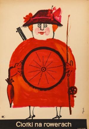 Jerzy FLISAK, Plakat do filmu CIOTKI NA ROWERACH, 1963
