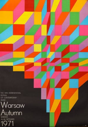 """Hubert HILSCHER, Plakat 15 FESTIWAL MUZYKI WSPÓŁCZESNEJ """"WARSZAWSKA JESIEŃ"""", 1971"""