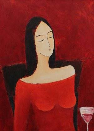 Agnieszka Beer, Kobieta z kieliszkiem wina, 2016