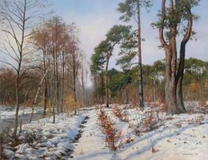Wojciech Piekarski, Pejzaż zimowy z sosnami, 2021