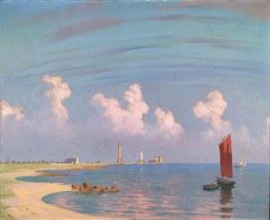 Ludwik CYLKOW (1877 - 1934), Pejzaż z łódkami, 1915