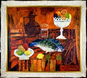 Jan SZANCENBACH (1928-1998), Martwa natura z rybami, 1984