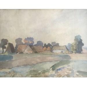 Wiktor Zin (1925 - 2007), Pejzaż wiejski, 1975