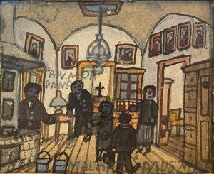 Nikifor Krynicki - Scena we wnętrzu, lata 30. XX w.