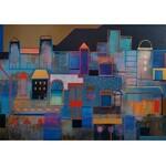 Grażyna Kilanowicz- Barecka (ur. 1955), Kompozycja z cyklu Miasta – w błękitach, 2021