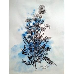 Katarzyna Kabzińska-Masionek (ur. 1993), Modre, z cyklu: Kwiaty, 2021