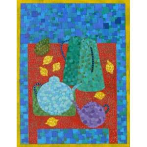 Małgorzata Damięcka(ur.1940), Martwa natura z czerwonym stolikiem, 2020