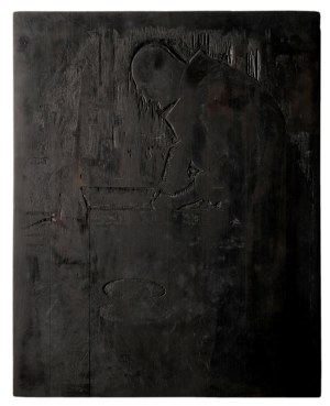 Józef Pieniążek (1888-1953), Leon Wyczółkowski w pracowni, ok.1925, deska drzeworytnicza , 288x233 mm.
