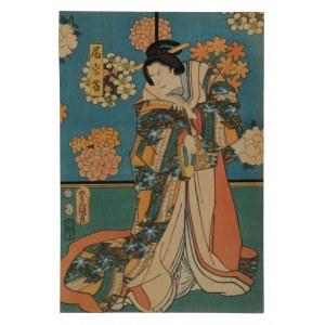 Utagawa Kunisada (1786-1864), Kobieta z sandałem zori, 1857