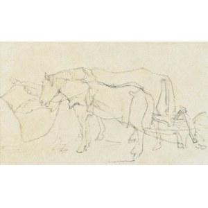 Witold PRUSZKOWSKI (1846-1896), Para koni przy pługu, ok. 1872