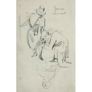 Stanisław KACZOR BATOWSKI (1866-1945), U krawca – Kobieta pochylająca się i klęczący przy niej mężczyzna trzymający rąbek jej sukienki oraz