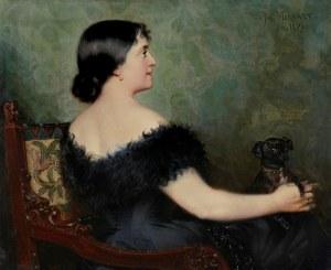 Paweł (Paul) MERWART (1855-1902), Portret damy z pieskiem, 1894
