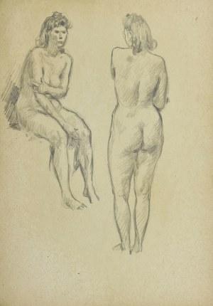 Ludwik MACIĄG (1920-2007), Studia aktu kobiety w dwóch pozach: siedzący akt kobiety i stojący akt kobiety