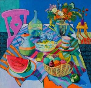 David Schab, Martwa natura z różowym krzesłem, 2017