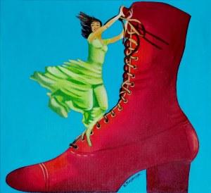 Krystyna Krzyszczyk (ur. 1959), Czerwony pantofelek, 2021