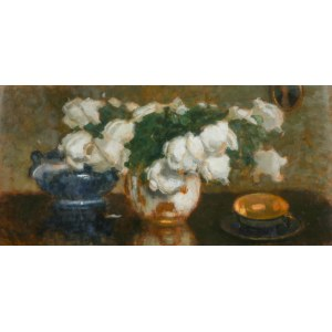Alfons Karpiński (1875 Rozwadów - 1961 Kraków), Białe róże z filiżanką