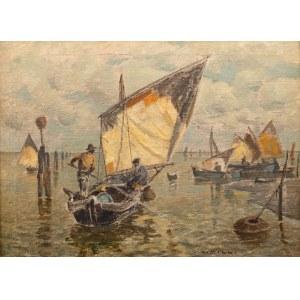 Ludwig Dill (1848 Gernsbach - 1940 Karlsruhe), Łodzie w weneckiej lagunie