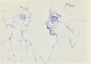 Roman BANASZEWSKI (1932-2021), Szkic popiersia kobiety z prawego oraz lewego profilu