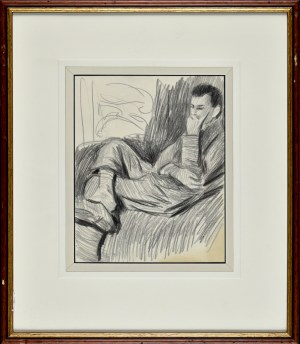 Stanisław KAMOCKI (1875-1944), Młody mężczyzna siedzący w fotelu, ok. 1925