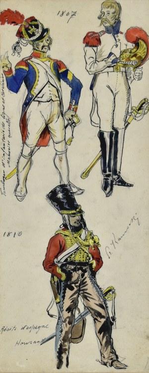 Stanisław KAMOCKI (1875-1944), Umundurowanie żołnierzy armii napoleońskiej z 1807 i huzara armii hiszpańskiej z 1810, ok. 1894